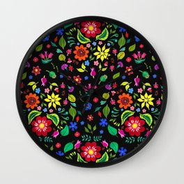 Folk Florals Dark Wall Clock
