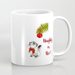 Kitty Cat Eyeing a Christmas Ornament Coffee Mug