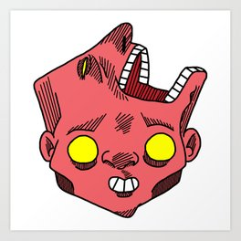 two faced morphed head Art Print