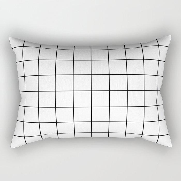 Grid Simple Line White Minimalist Rectangular Pillow