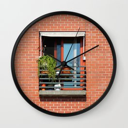 Window Brick Building with Cat Wire Statue Red Wall Wall Clock