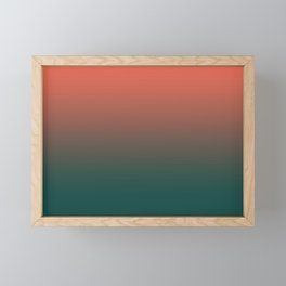 Pantone Living Coral & Forest Biome Green Gradient Ombre Blend, Soft Horizontal Line Framed Mini Art Print