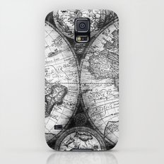 World Map Antique Vintage Black and White Globe Astrology Star Maps Galaxy S5 Slim Case