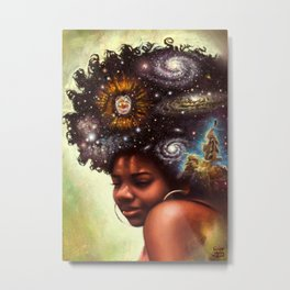 Black-Girl Magic - woman with the universe in her afro Metal Print