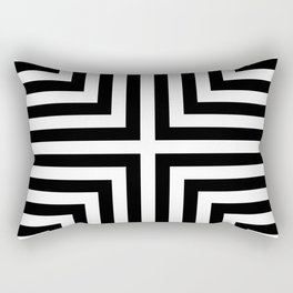 Simple Geometric Cross Pattern - White on Black - Mix & Match with Simplicity of life Rectangular Pillow