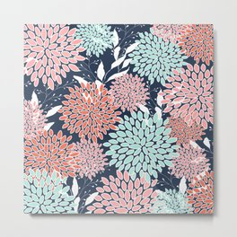 Floral Prints and Leaves, Navy, Aqua Coral and Pink Metal Print