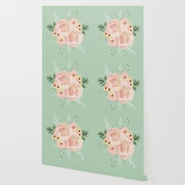 Wild Roses on Pastel Cactus Green Wallpaper