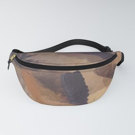 brush painting texture abstract background in black and brown Fanny Pack