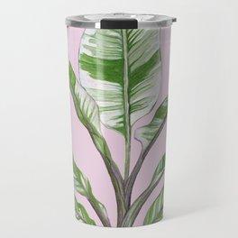 Green Leaves House Plant on Pink Travel Mug