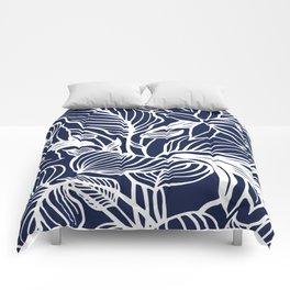 Navy Blue Floral Minimal Comforters