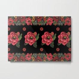 Traditional Red Flowers Motif Metal Print