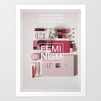 feminism Art Prints featuring feminism by marinski