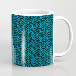 Modern Blue Herringbone Coffee Mug