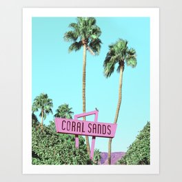 Vintage Pink Sign for Coral Sands Inn  Art Print