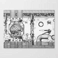 Mother Brain Super Metroid Engraving Scene Canvas Print