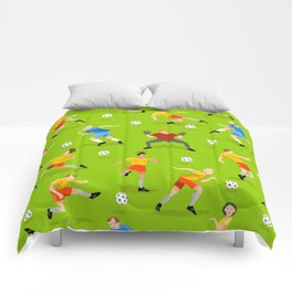 Vector seamless background with football players on green field Comforters