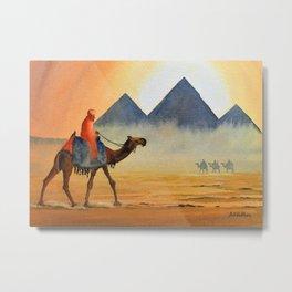 Sudden Sand Storm At Giza Pyramids Egypt Metal Print