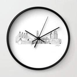 Kansas City Skyline Illustration Black Line Art Wall Clock
