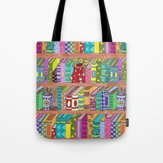 Colorful books on shelves Tote Bag