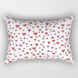 Little Hearts - Red & Pink Rectangular Pillow