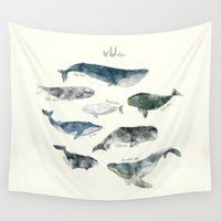 typography Wall Tapestries featuring Whales by Amy Hamilton