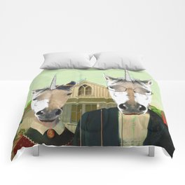 American Gothic Unicorn Comforters