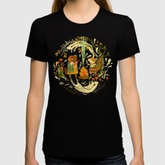 Animal Chants & Forest Whispers Black Womens Fitted Tee SMALL