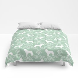 French Bulldog floral minimal mint and white pet silhouette frenchie pattern Comforters