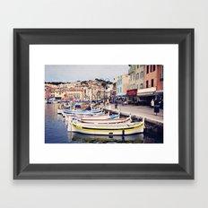 Boats in Cassis Harbor Framed Art Print