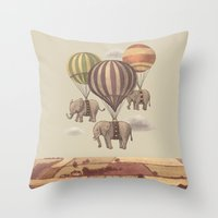 la Throw Pillows featuring Flight of the Elephants  by Terry Fan