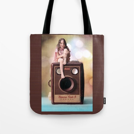 Smile for the Camera - vintage Kodak Brownie camera with miniature girl. Tote Bag