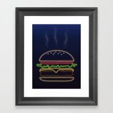 Neon Burger Framed Art Print