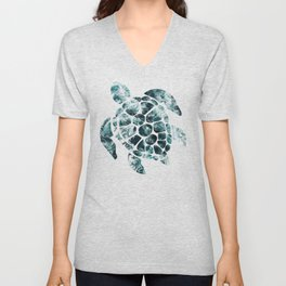 Sea Turtle - Turquoise Ocean Waves Unisex V-Neck