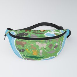 Map of North America with Animals bison bat manatee fox elk horse wolf partridge seal Polar bear Fanny Pack