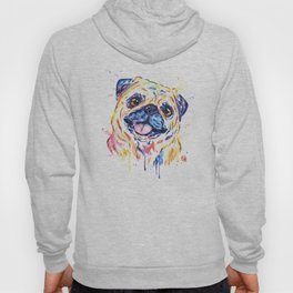 Fawn Pug Colorful Watercolor Pet Portrait Painting Hoody