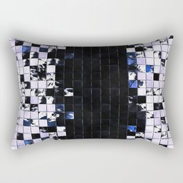Blue Accent Black And White Square Tiled Ceramic Mosaic Pattern Rectangular Pillow