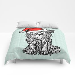 Christmas Dog In Santa Clause Hat Comforters