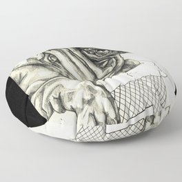 Geometric Black and White Animal portrait Pug Floor Pillow