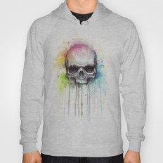 Skull Rainbow Watercolor Painting Skulls Hoody