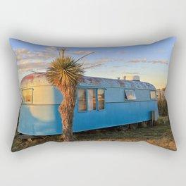 Old Blue Cactus Trailer Rectangular Pillow