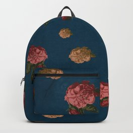 Vintage Floral Pattern with Blue Background - Grained Texture Backpack