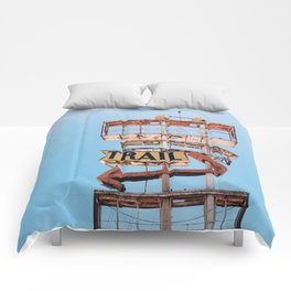 Vintage Neon Sign - The Spanish Trail -  Tucson Comforters