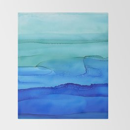 Alcohol Ink Seascape Throw Blanket