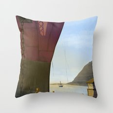 ANGRY FISHER Throw Pillow