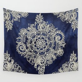 Cream Floral Moroccan Pattern on Deep Indigo Ink Wall Tapestry
