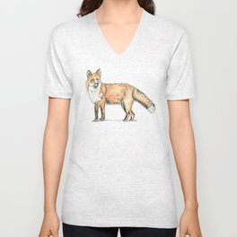 Fox watercolour and ink Unisex V-Neck