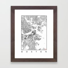 Boston Map Schwarzplan Only Buildings Framed Art Print