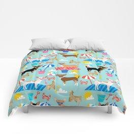 Miniature Doberman Pinscher dog beach day summer fun dog lover min pin Comforters