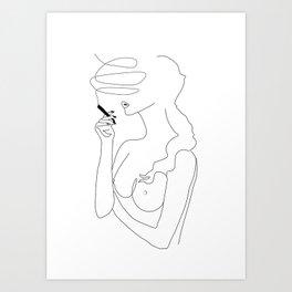 Woman Smoking Art Print