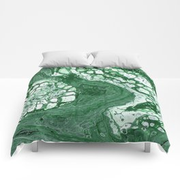 Tree Agate - Abstract Flow Acrylic - Green and White Comforters